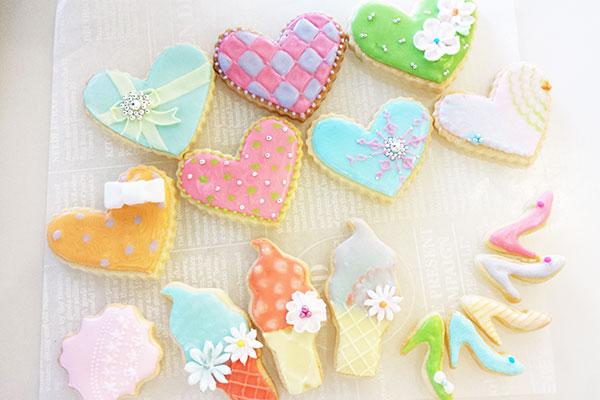 アイシングクッキー ハイヒールとハートとソフトクリーム